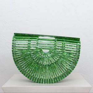 Handbags - Green Acrylic Ark Clutch Top Handle Tote Bag NWOT